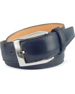 Men's Blue Hand Painted Italian Leather Belt