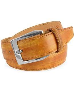 Men's Ocher Hand Painted Italian Leather Belt