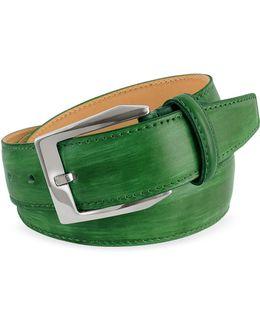 Men's Green Hand Painted Italian Leather Belt