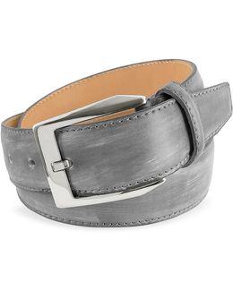 Men's Gray Hand Painted Italian Leather Belt