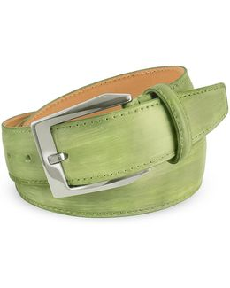 Men's Pistachio Green Hand Painted Italian Leather Belt