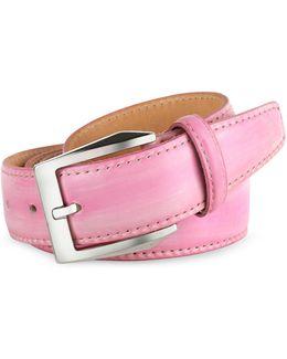 Men's Pink Hand Painted Italian Leather Belt
