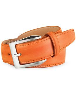 Men's Orange Hand Painted Italian Leather Belt