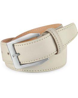 Men's White Hand Painted Italian Leather Belt