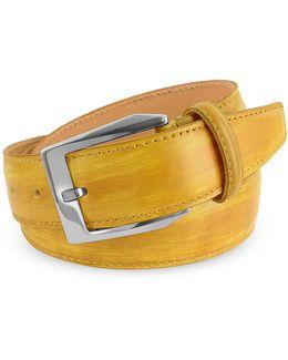 Men's Yellow Hand Painted Italian Leather Belt