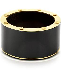 Black Resin And Brass Double Viti Large Bangle