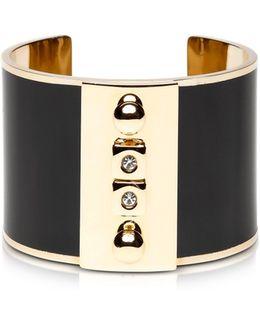 Golden Brass And Black Enamel Cuff