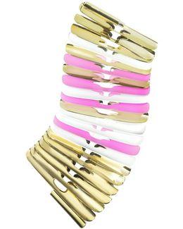 Gold White And Pink Fishbone Bangle