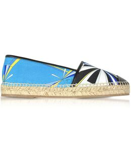 Turquoise Printed Cotton And Leather Espadrilles