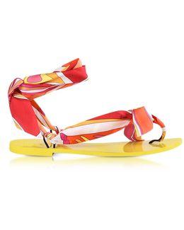 Fuchsia Printed Silk Flat Sandals