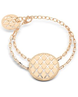 Melrose Yellow Gold Over Bronze Bracelet W/round Charms