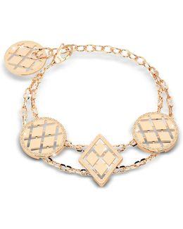 Melrose Yellow Gold Over Bronze Bracelet W/geometric Charms
