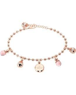 Boulevard Stone Rose Gold Over Bronze Bracelet W/hydrothermal Pink Stones