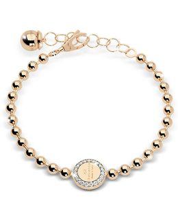 Boulevard Stone Yellow Gold Over Bronze Bracelet W/stones