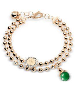 Boulevard Stone Yellow Gold Over Bronze Double Beadball Chain Bracelet W/hydrothermal Green Stone