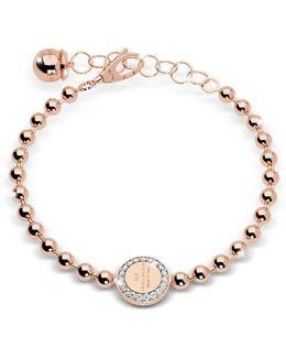Boulevard Stone Rose Gold Over Bronze Bracelet W/stones