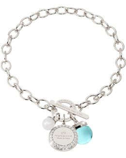 Hollywood Stone Rhodium Over Bronze Chain Bracelet W/hydrothermal Turquoise Stone And Glass Pearl