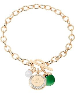 Hollywood Stone Yellow Gold Over Bronze Chain Bracelet W/hydrothermal Green Stone And Glass Pearl