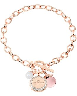 Hollywood Stone Rose Gold Over Bronze Chain Bracelet W/hydrothermal Pink Stone And Glass Pearl