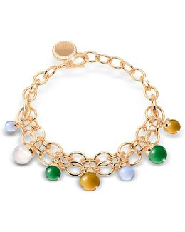 Hollywood Stone Yellow Gold Over Bronze Chains Bracelet W/hidrothermal Stones