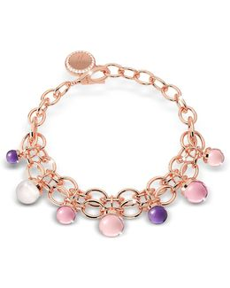 Hollywood Stone Rose Gold Over Bronze Chains Bracelet W/hidrothermal Stones