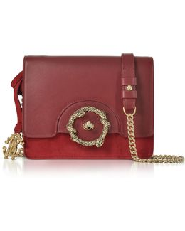 Crimson Leather And Suede Small Shoulder Bag