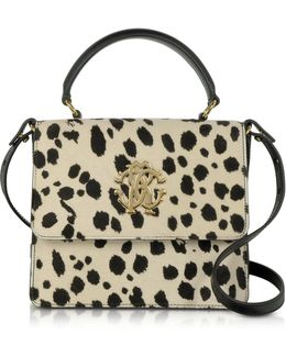 Pony Hair And Calf Leather Top Handle Satchel Bag
