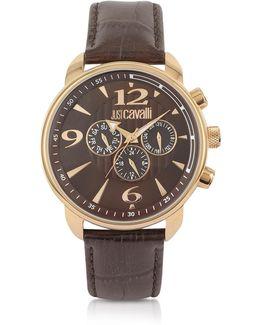 Earth - Brown Croco Multifunction Watch