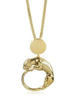 Panther Light Gold Tone Metal Pendant