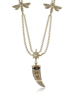 Gold-tone Double Chain Long Necklace W/enamel And Crystals Horn