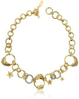 Circus Golden Metal Necklace W/crystals