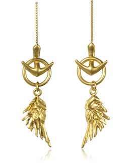Wing Antique Gold Earrings