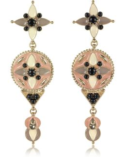 Gold-tone And Enamel W/multicolor Crystals Long Earrings