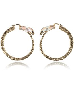 Gold Tone Metal And Multicolor Enamel Snake Hoop Earrings