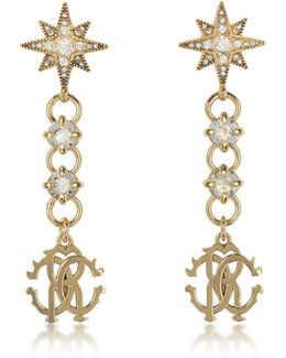 Icon Golden Star Earrings W/crystals