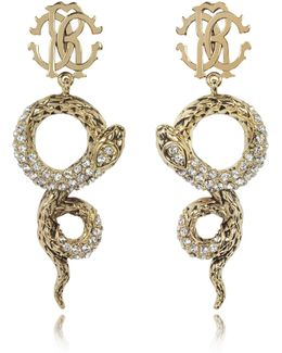 Golden Brass Snake Earrings W/crystals