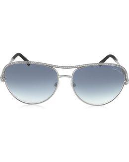 Vega 1011 Metal Aviator Women's Sunglasses W/crystals