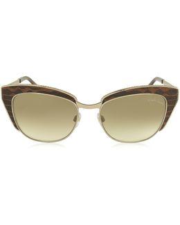 Sualocin 973s Gold Metal And Brown Animal Print Acetate Cat Eye Sunglasses