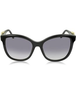 Kraz 877s 01b Black Acetate Cat Eye Sunglasses W/goldtone Details