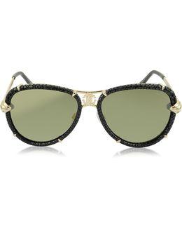 Mebsuta 885s Leather & Gold Metal Aviator Sunglasses