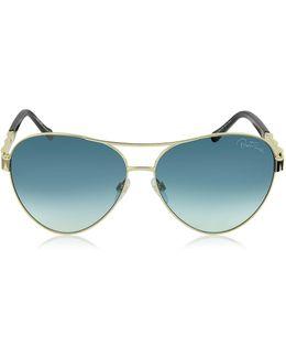 Merga 905s Gold Metal Aviator Sunglasses W/crystals