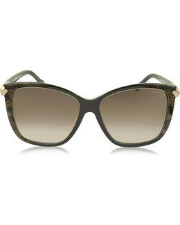Menkent 902s 50g Brown Snake Print Cat Eye Sunglasses W/goldtone Details