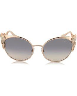 Menkalinan 890s 28f Goldtone Metal Cat Eye Women's Sunglasses W/crystals