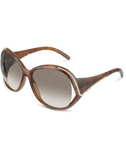 Oroya - Scrolled Metal Signature Round Frame Sunglasses