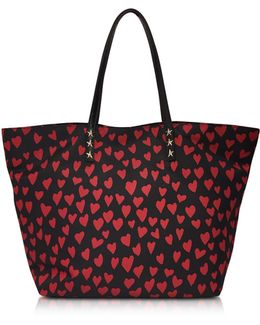 Red And Black Heart Print Nylon Tote