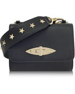 Black Leather Shoulder Bag W/stars