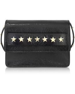 Golden Stars Black Leather Shoulder Bag