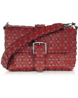 Red Studded Leather Flap Top Shoulder Bag