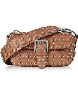 Genuine Leather Studded Shoulder Bag