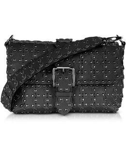 Black Studded Leather Flap Top Shoulder Bag